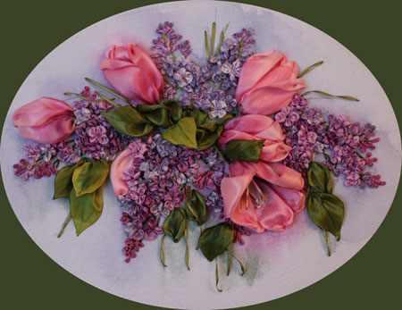 ساخت گل لاله با روبان 1 - آموزش ساخت گل لاله با روبان با روش بسیار ساده و کامل