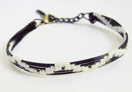 آموزش درست کردن دستبند با سیم و کاموا (1)