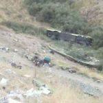 تصادف و سقوط اتوبوس در دره جاجرود ( جاده آبعلی )