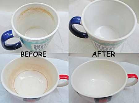 کردن لکه چای و قهوه روی فنجان - تمیز کردن لکه چای و قهوه روی فنجان