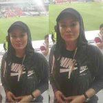عکس سحر قریشی در استادیوم بازی پرسپولیس و الاهلی