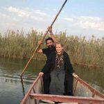 عکس بهاره رهنما و همسرش در تالاب شادگان