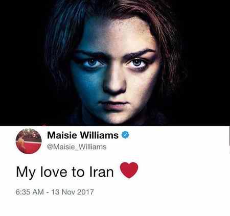 همدردی آریا استارک بازیگر بازی تاج و تخت با زلزله زدگان ایران