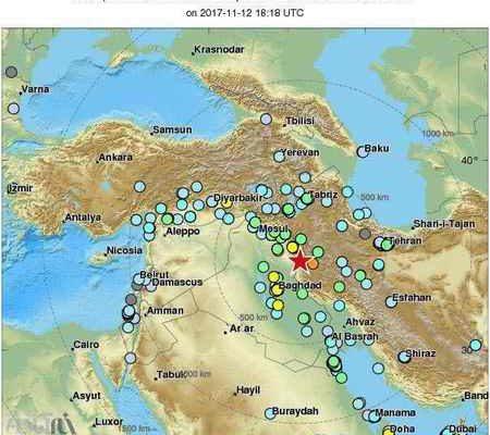 گستره مناطقی که زلزله آمد (یکشنبه 21 آبان 96)