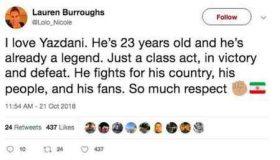 پست توییتری همسر جردن باروز برای حسن یزدانی