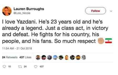 پست توییتری همسر جردن باروز برای حسن یزدانی پست توییتری همسر جردن باروز برای حسن یزدانی