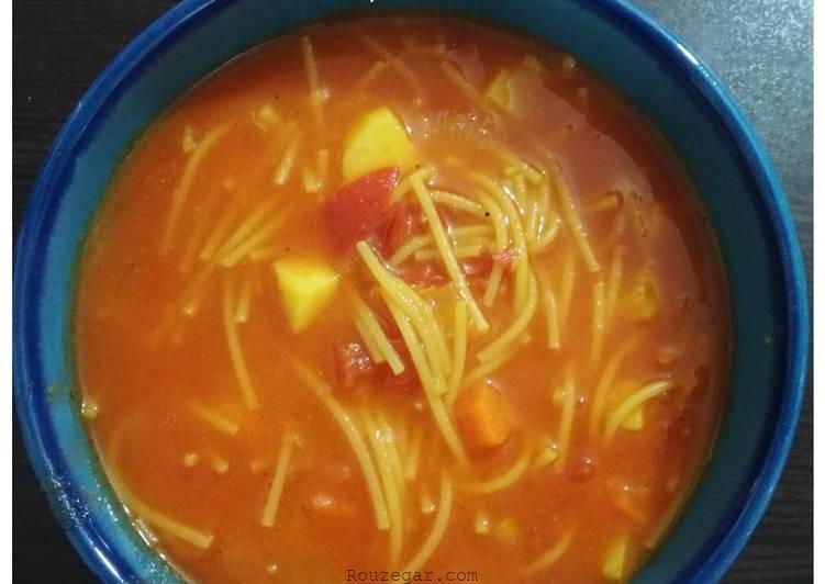 سوپ ماکارونی بدون گوشت