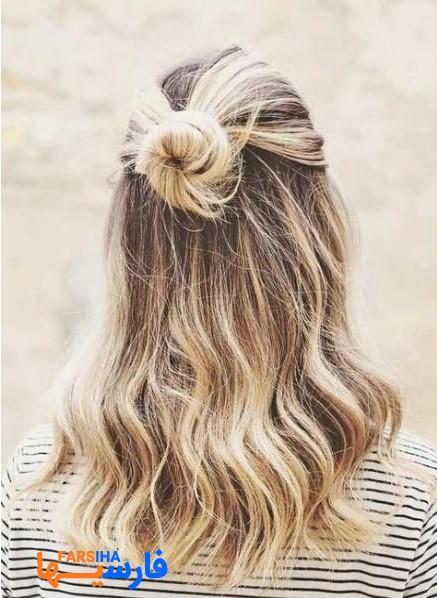 شنیون های ساده و زیبا برای موهای بلند 2