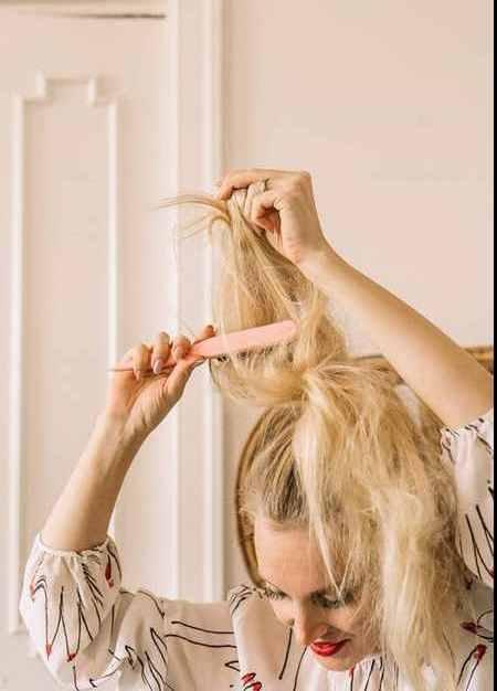 آموزش بستن مدل مو گوجه ای (3)