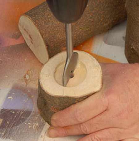 آموزش ساخت جاشمعی با چوب درخت (2)