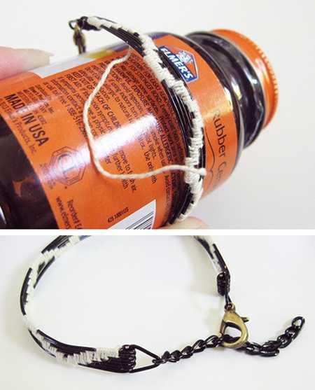 آموزش درست کردن دستبند با سیم و کاموا (11)