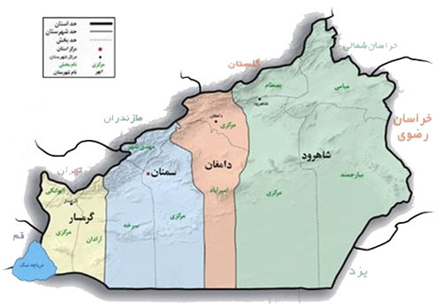 نقشه استان سمنان