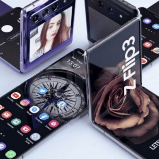 Renderings of the Galaxy Z Flip 3 with a large external display